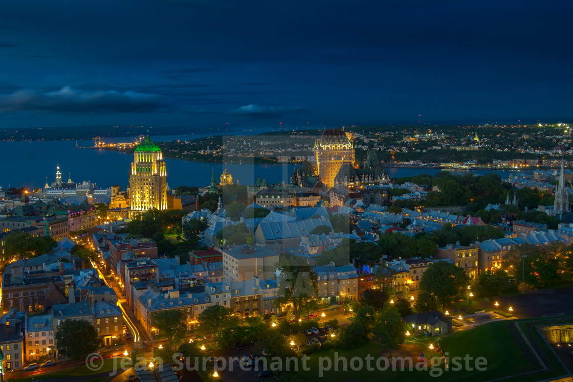 """Old Québec city at blue hour"" stock image"