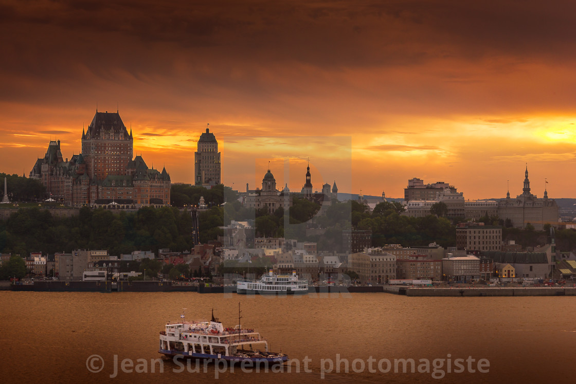 """Quebec city ferry sunset"" stock image"