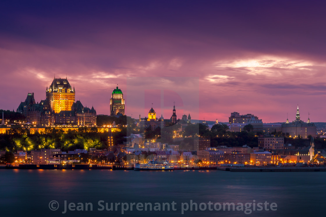 """Quebec city at night"" stock image"