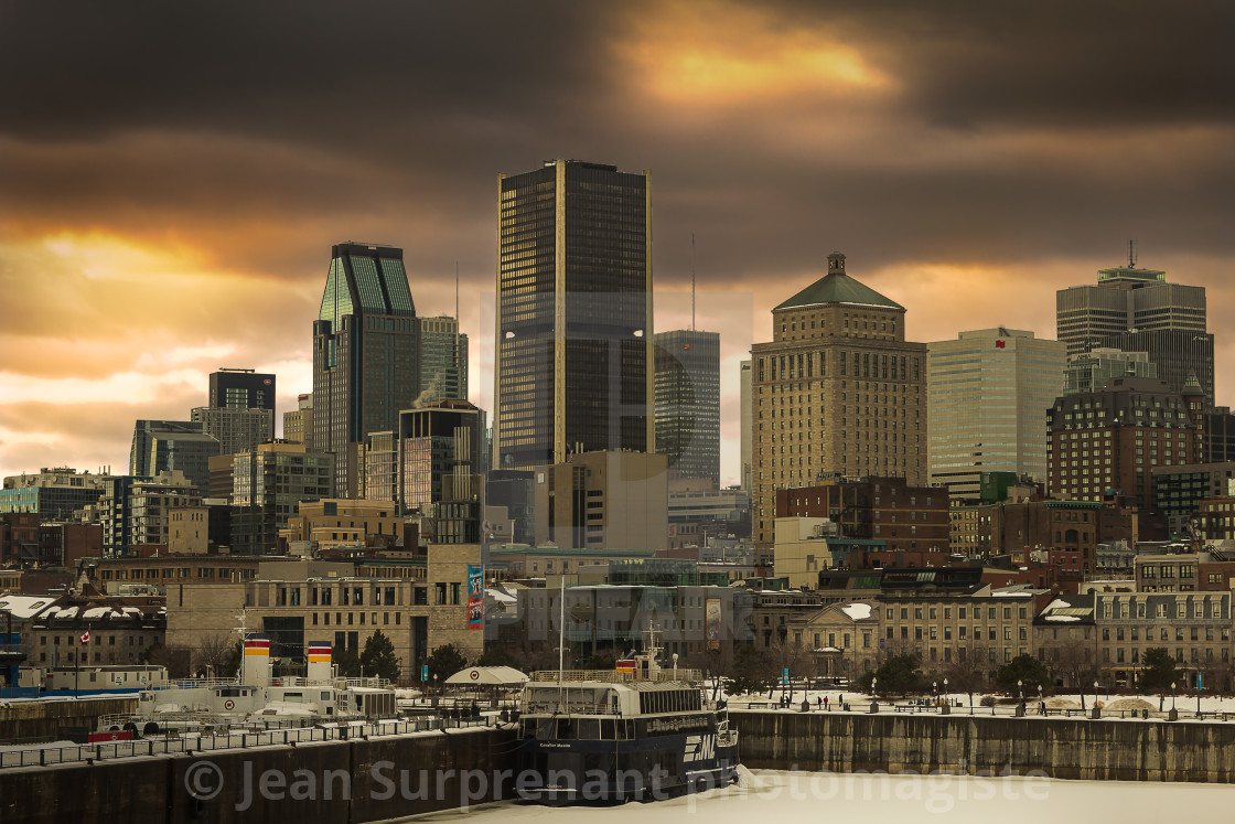 """Montreal waterfront in winter"" stock image"
