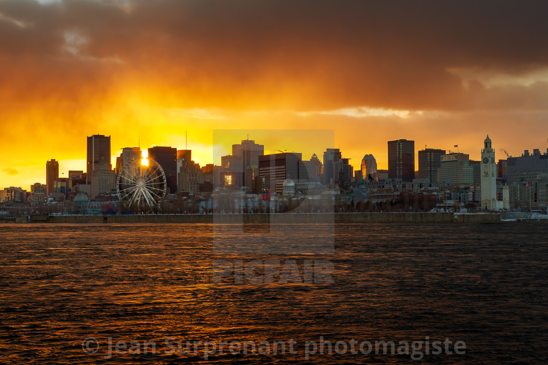 """Misty montreal sunset"" stock image"