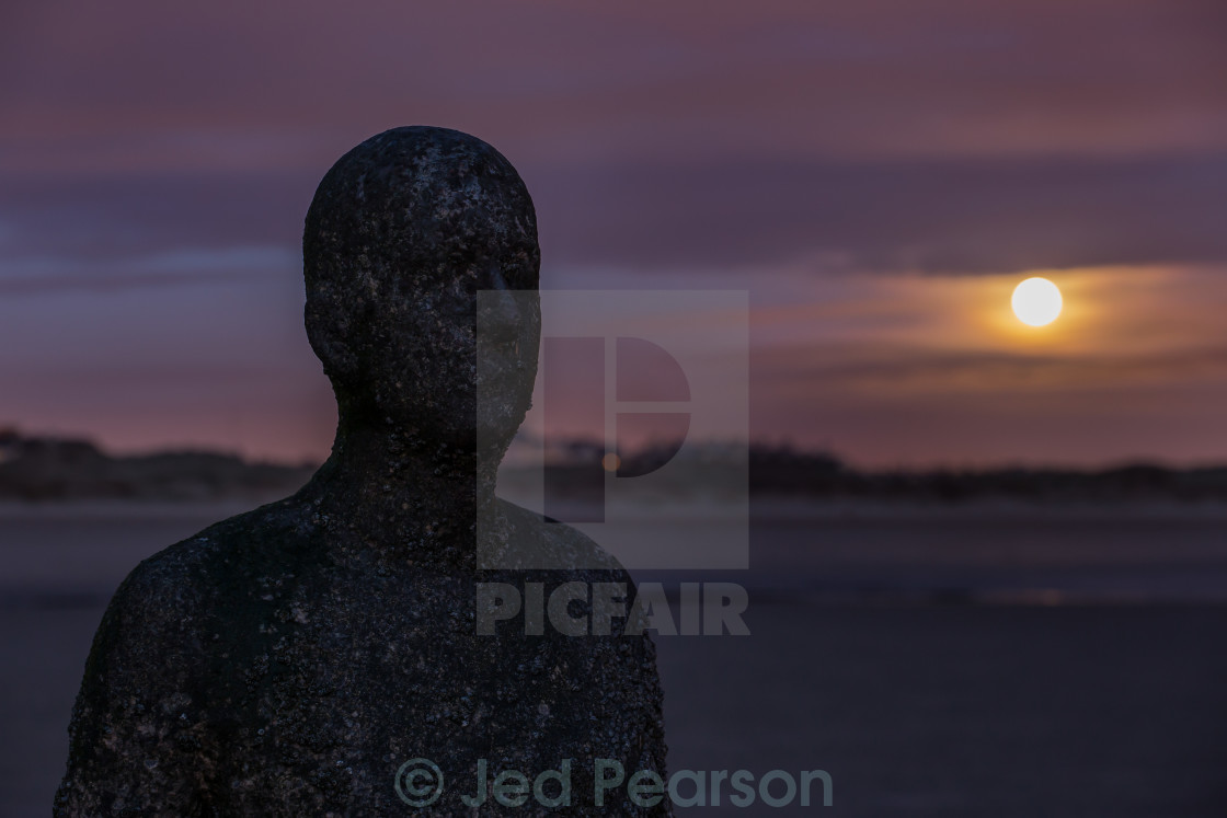 """The man and the moon"" stock image"
