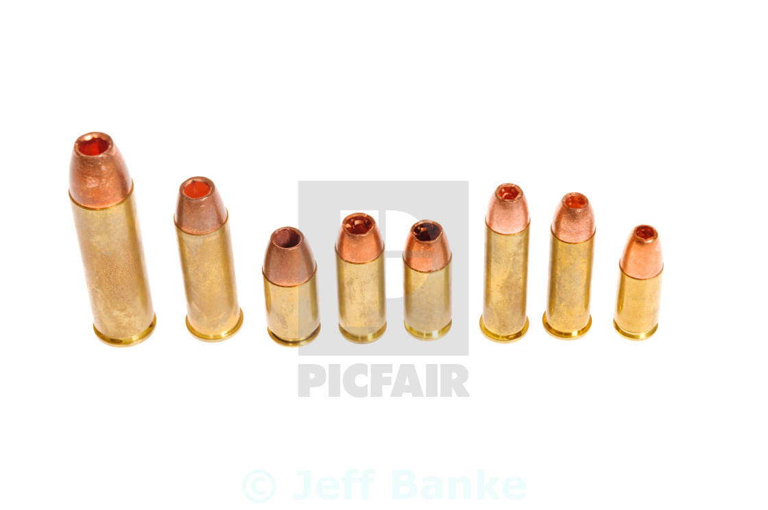 """Different types of pistol cartridges"" stock image"