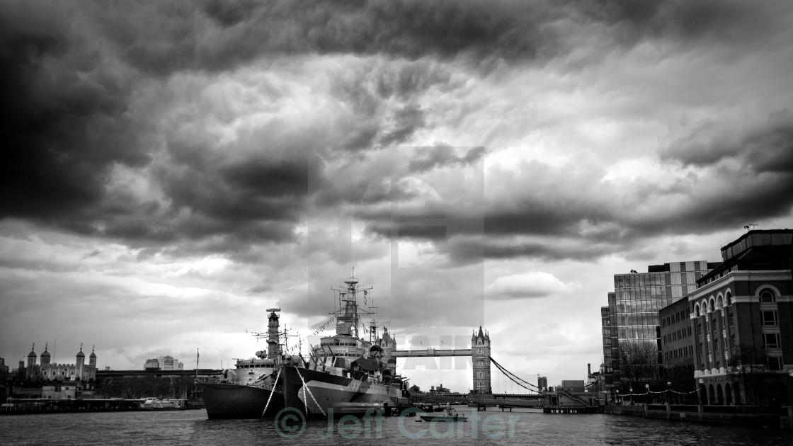"""HMS Belfast and Tower Bridge"" stock image"