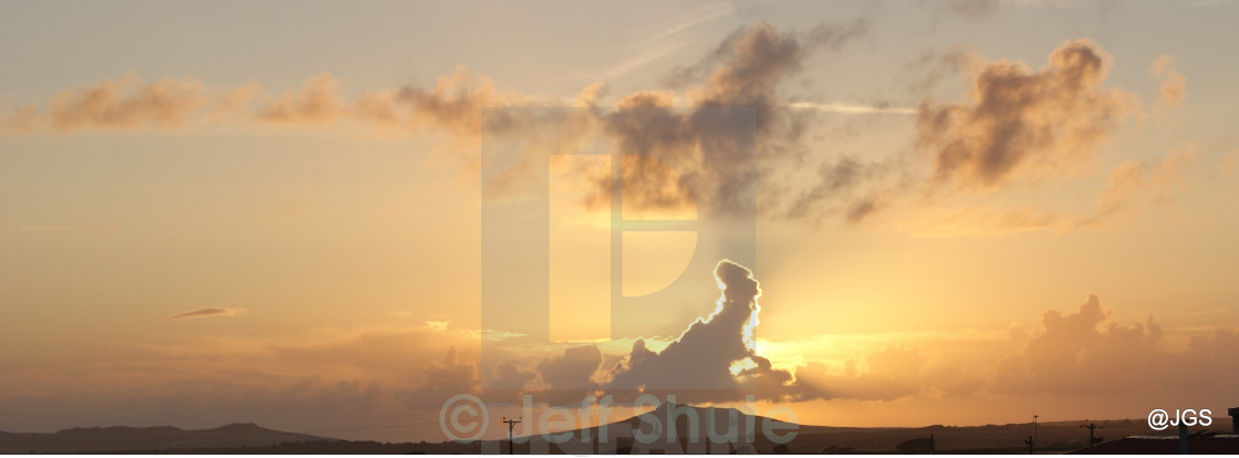 """""""Pembroke Sky With A Gnome working a grindstone"""" stock image"""