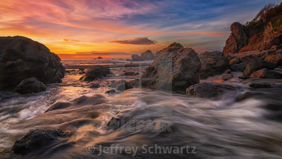 """Sunset at a Rocky Beach, Northern California Coast"" stock image"