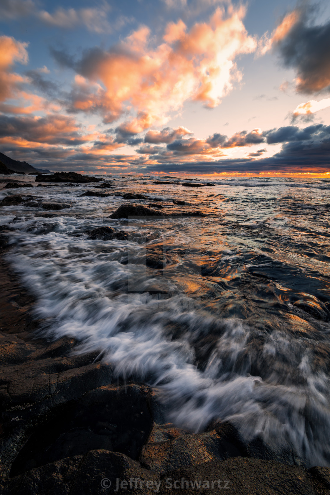 """""""Sunset at a Beautiful Oregon Beach Overlooking the Pacific Ocean"""" stock image"""