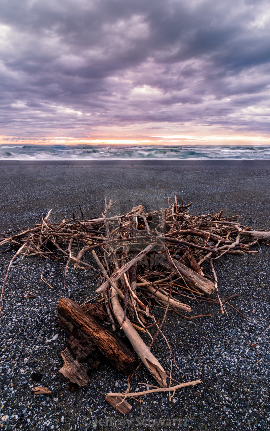 """""""A Pile of Driftwood at a Beach, Trinidad, California"""" stock image"""
