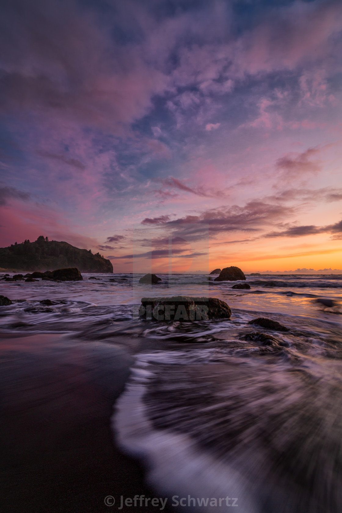 """""""Sunset at a Rocky Beach in Trinidad, California"""" stock image"""