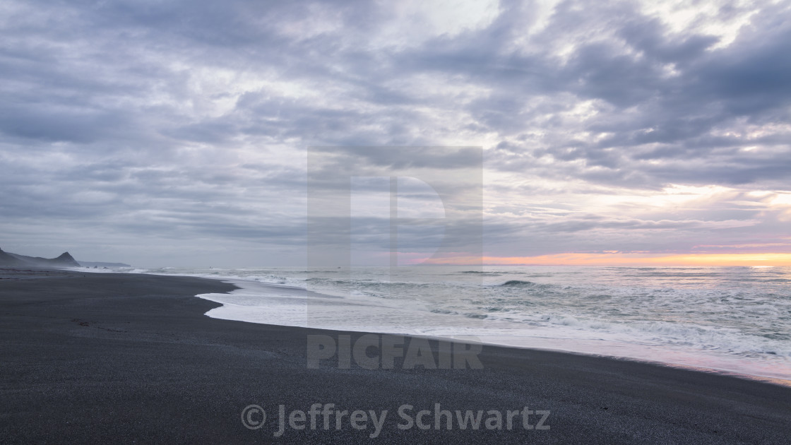 """Black Sand Beach Landscape at Sunset, Trinidad, California"" stock image"
