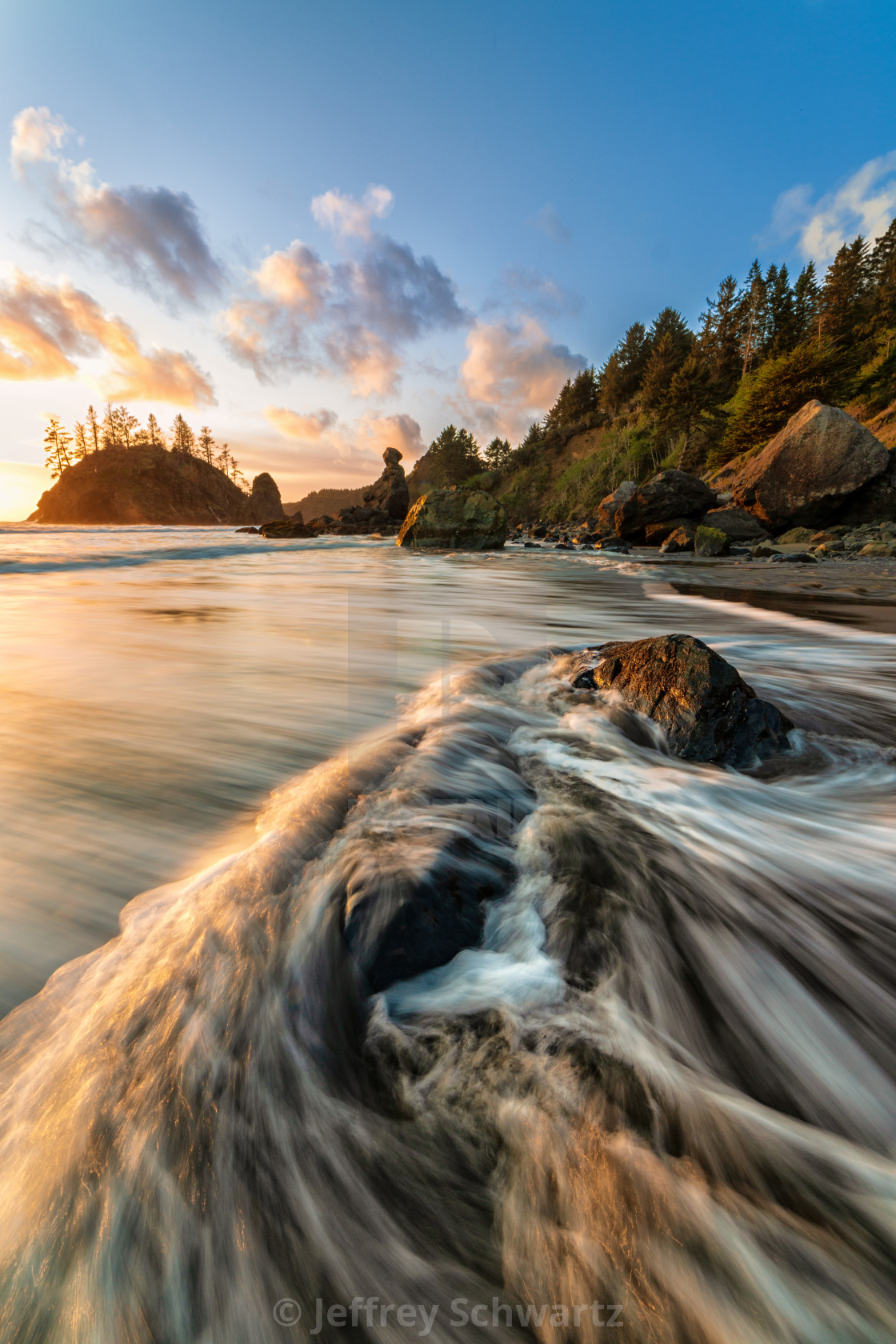 """Rocky Beach Landscape at Sunset, Trinidad, California"" stock image"