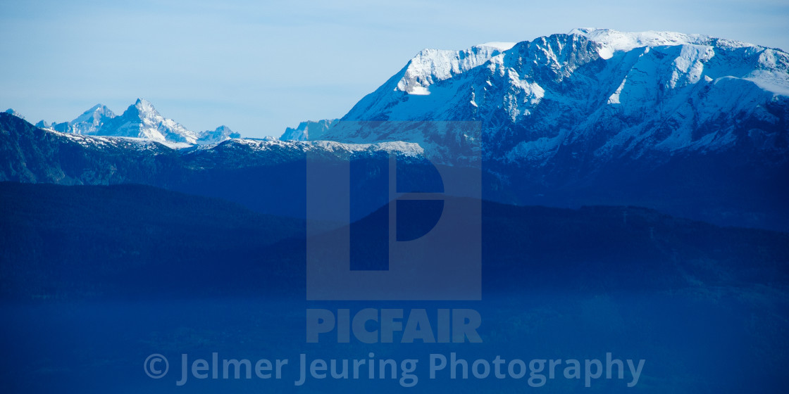 """Blue hour in the French Alps"" stock image"