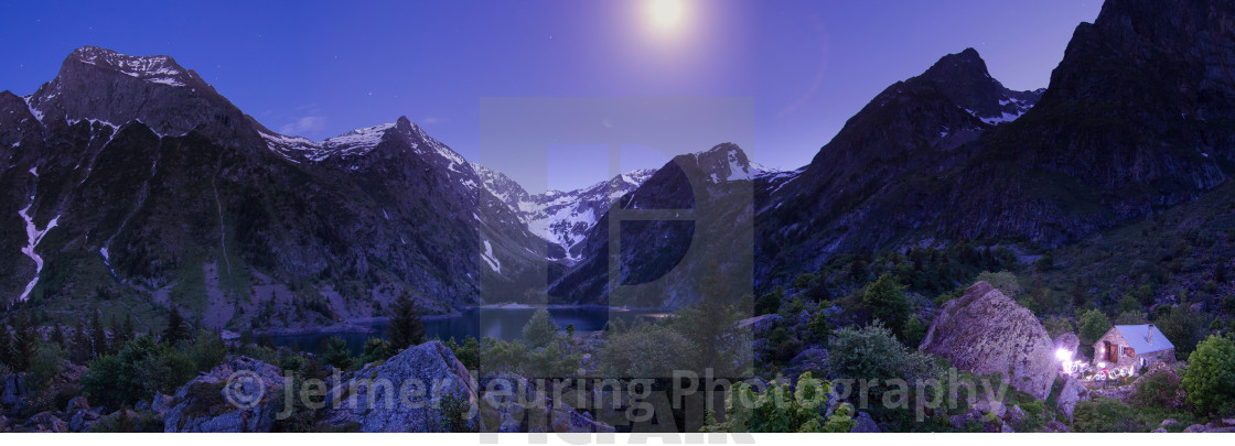 """""""Panoramic summer evening in the French Alps"""" stock image"""