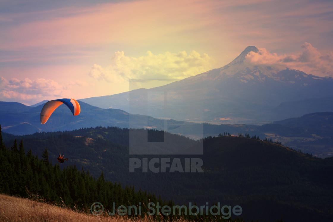 """Paragliding near Mt. Hood, Oregon"" stock image"