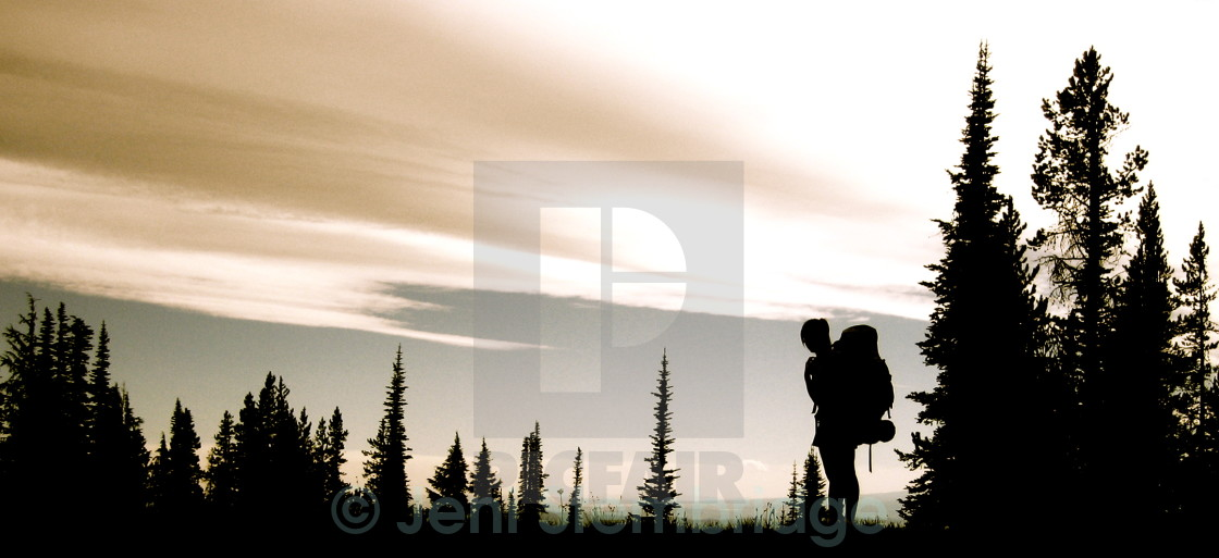"""Backpacking Silhouette"" stock image"