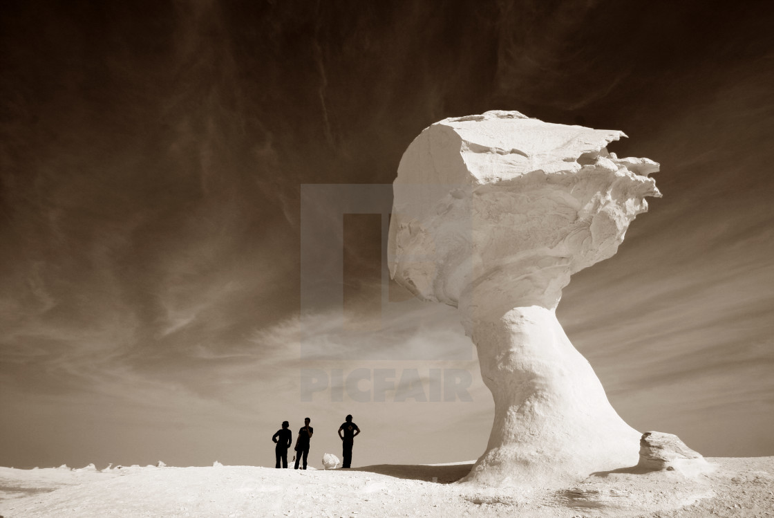 """Silhouettes of the White Desert"" stock image"