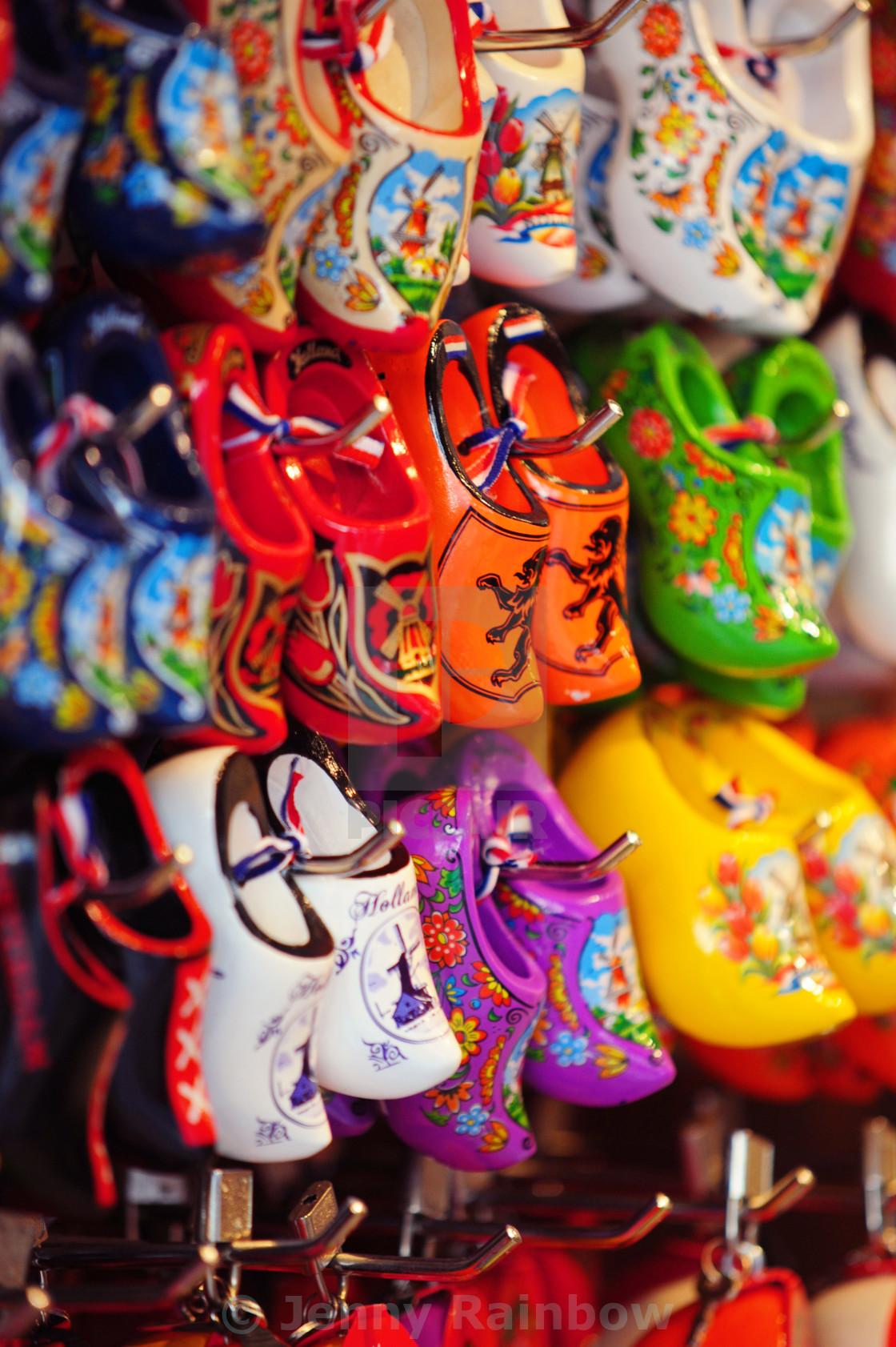 Souvenir Shop Display With Colorful Dutch Wooden Shoes License