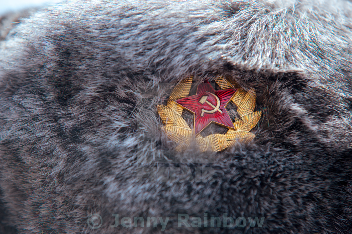 """Russian winter fur hat close up"" stock image"