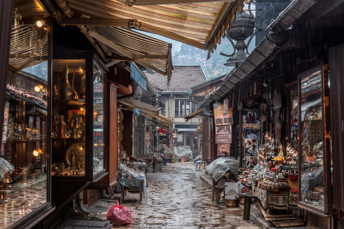 """SARAJEVO, BOSNIA AND HERZEGOVINA - APRIL 15, 2017: Narrow street of the..."" stock image"