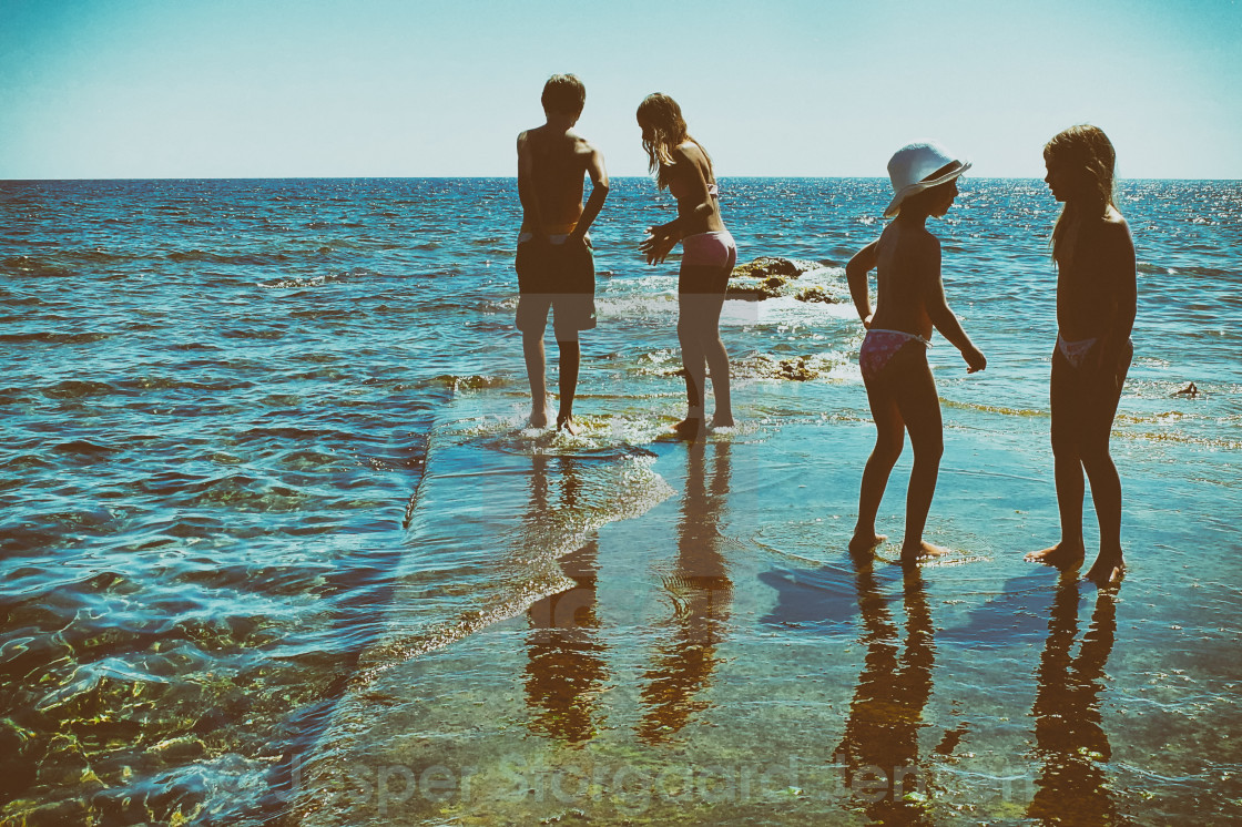 """Children at the sea"" stock image"