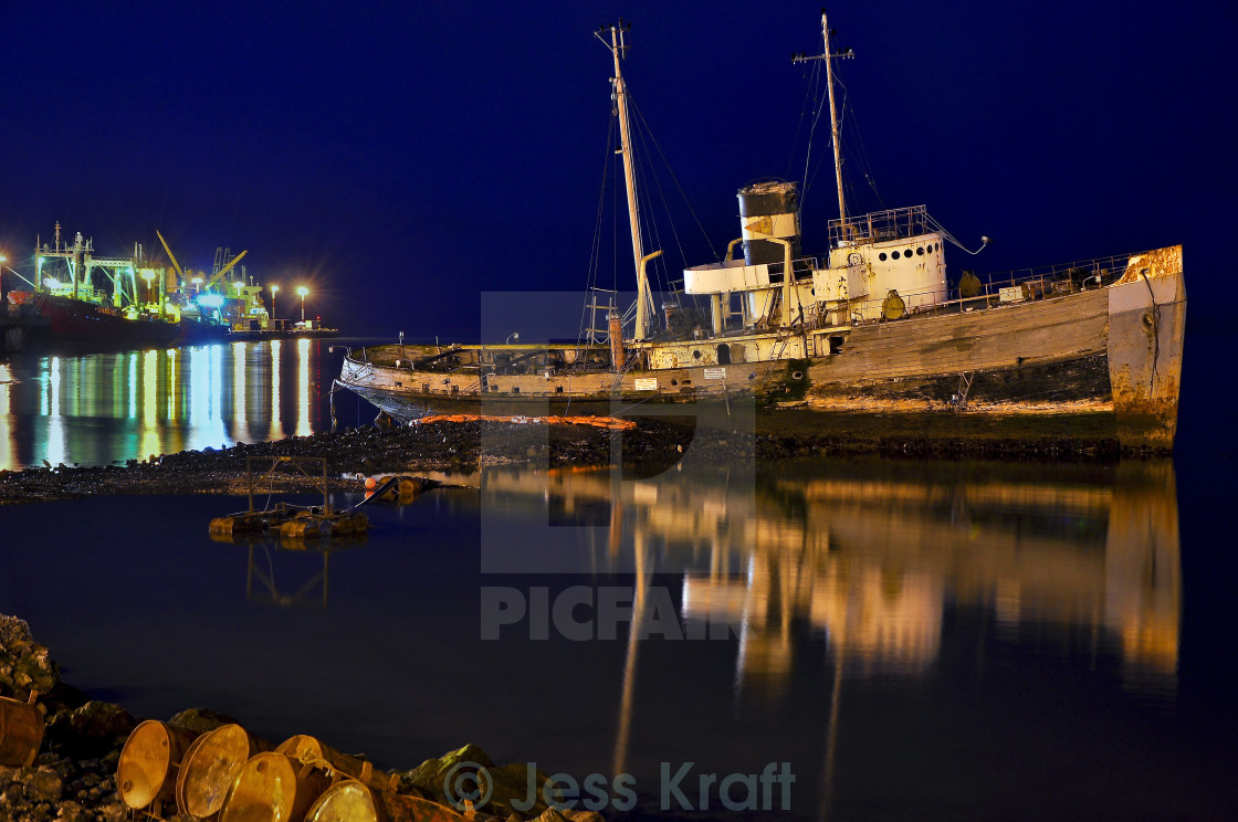"""Old Ship at Night"" stock image"
