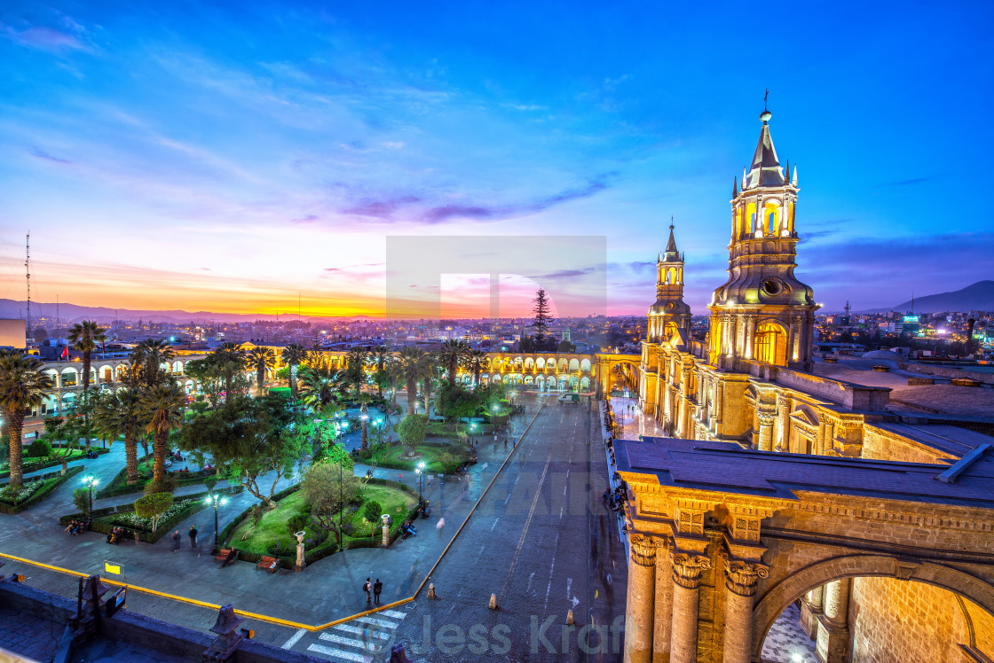 """Arequipa Plaza at Night"" stock image"