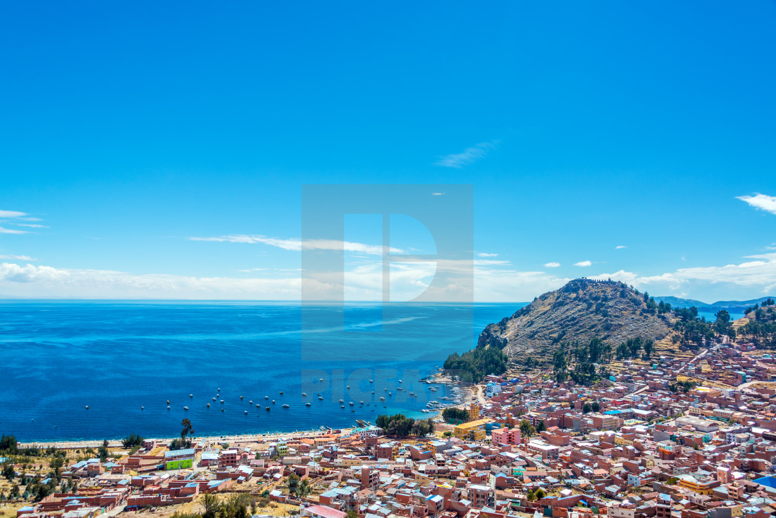 """Lake Titicaca and Copacabana, Bolivia"" stock image"