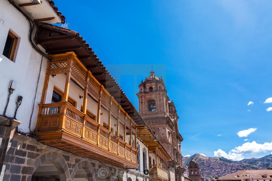 """Balconies and Church in Cusco, Peru"" stock image"