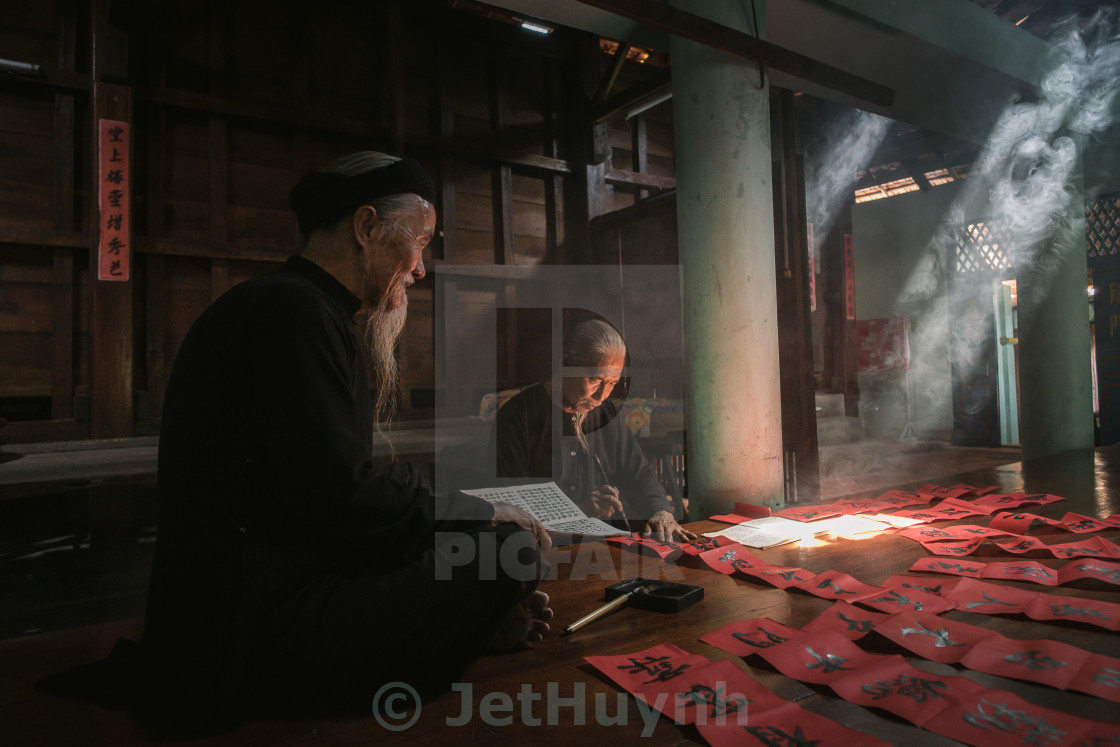 """calligraphy old man"" stock image"