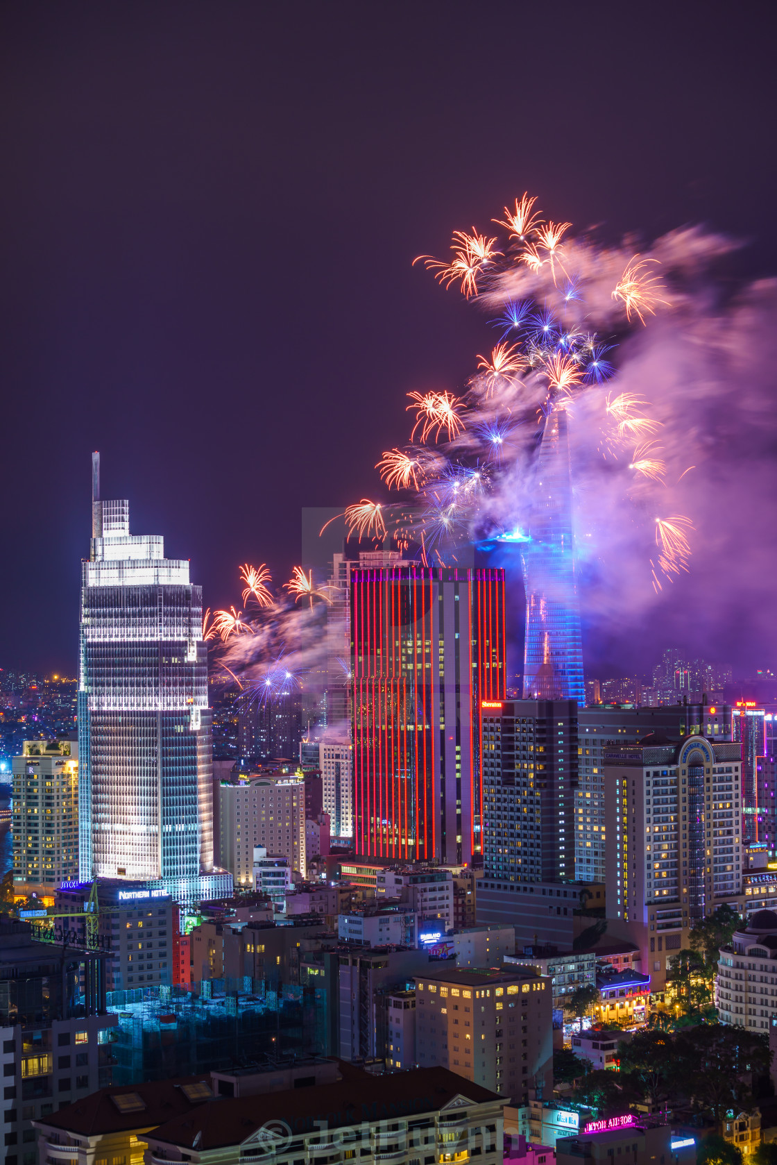 """Fireworks in Ho Chi Minh City"" stock image"