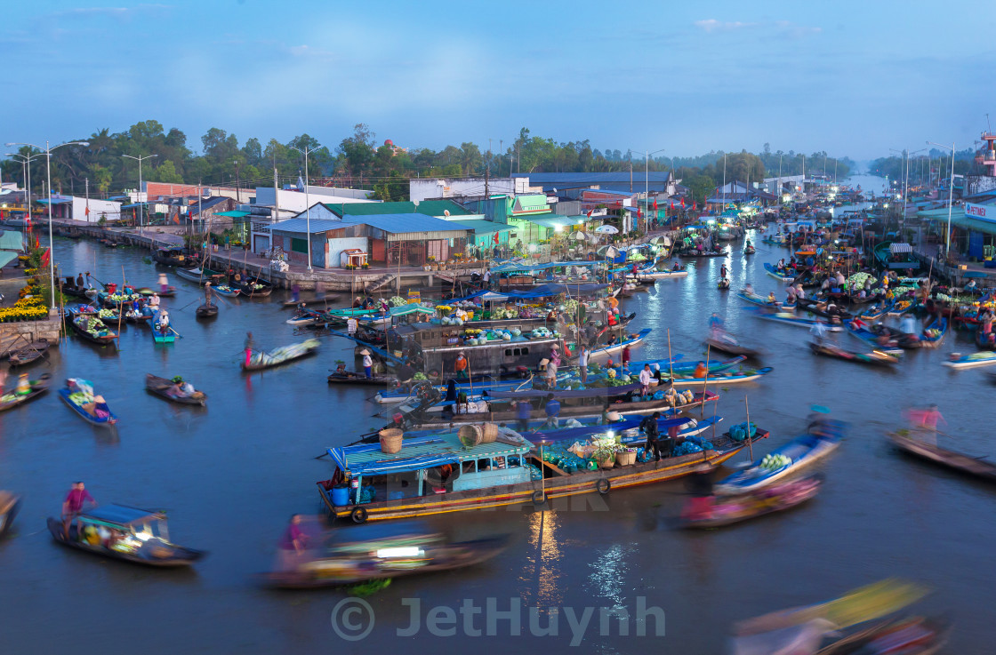"""floating market at the early morning"" stock image"
