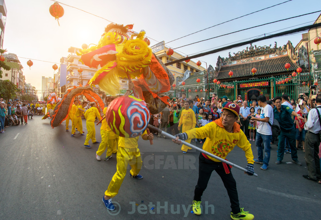 """Lunar New Year dragon dancing"" stock image"