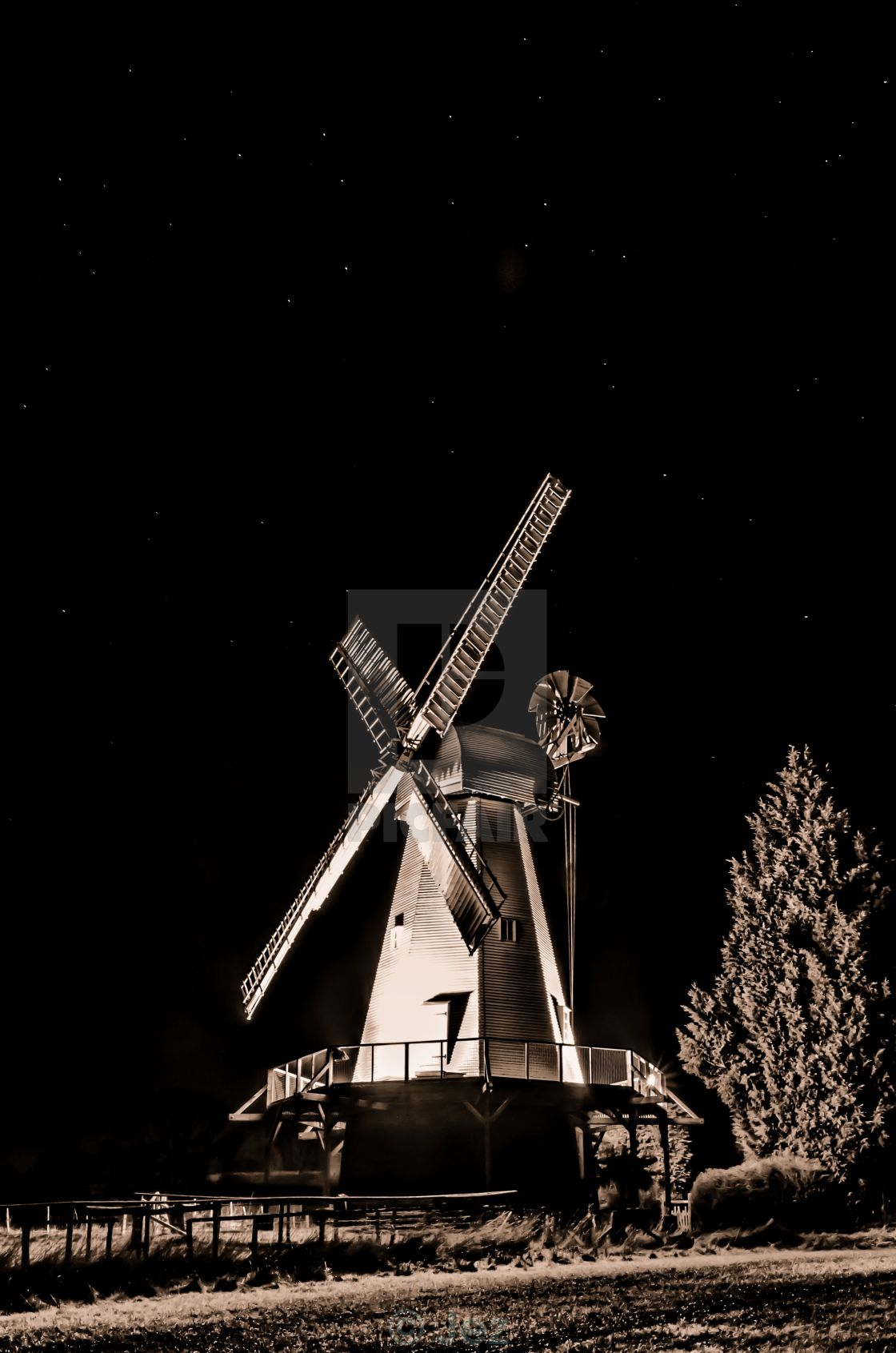 """Smock mill at night"" stock image"