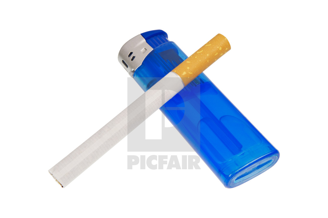 """Lighter and cigarette on a white background"" stock image"