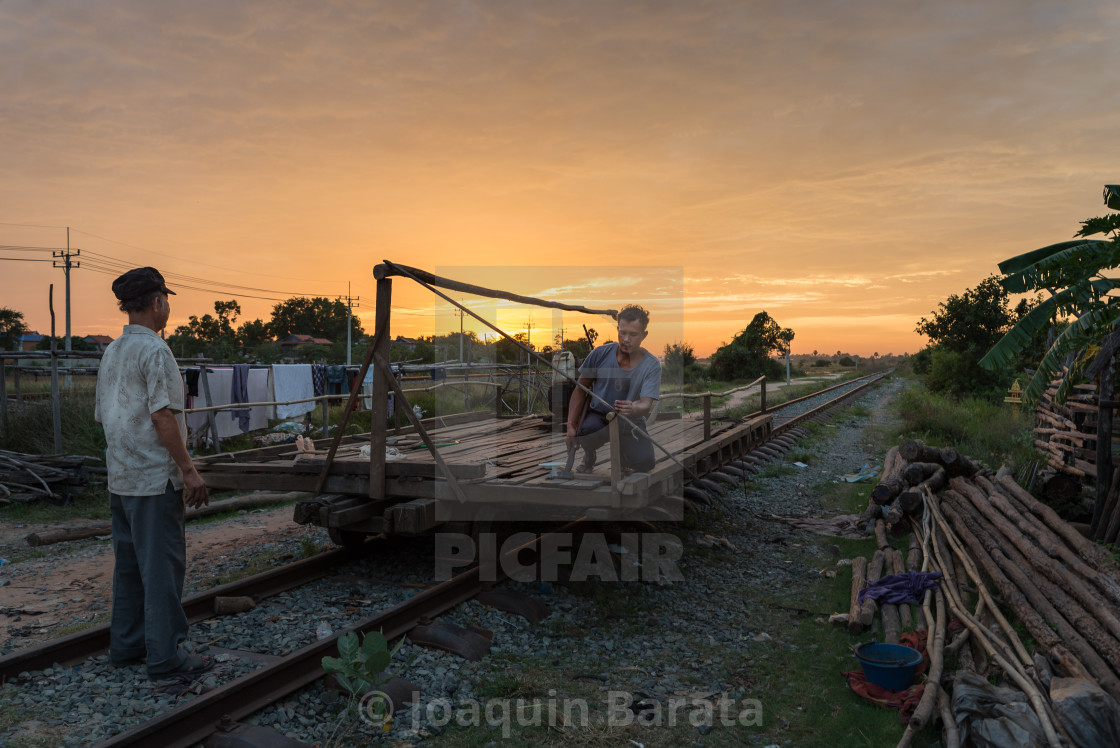 """Sunset on the railway"" stock image"