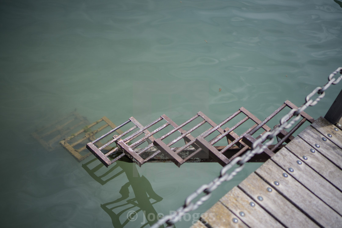 """""""Sopeira steps into Escales Resevoir"""" stock image"""