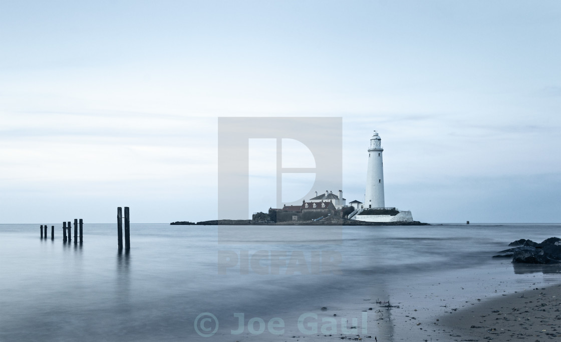 """St Marys Island and lighthouse"" stock image"