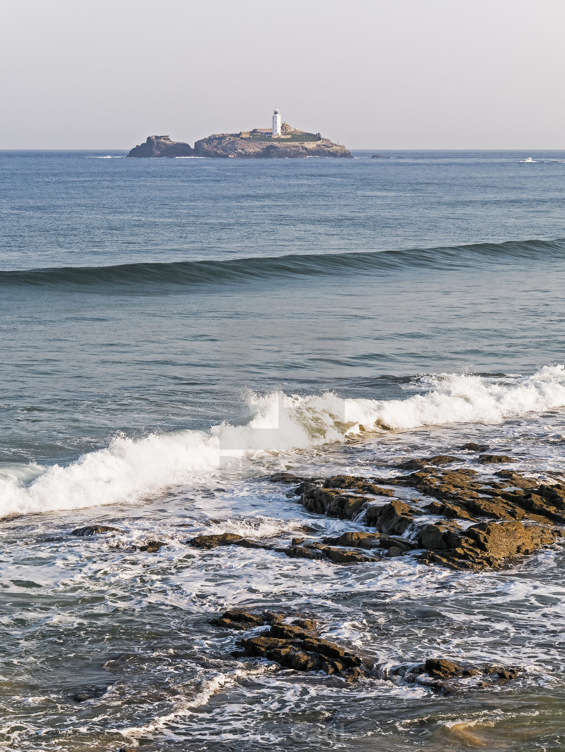 """Cornish coastline with Godrevy Lighthouse"" stock image"