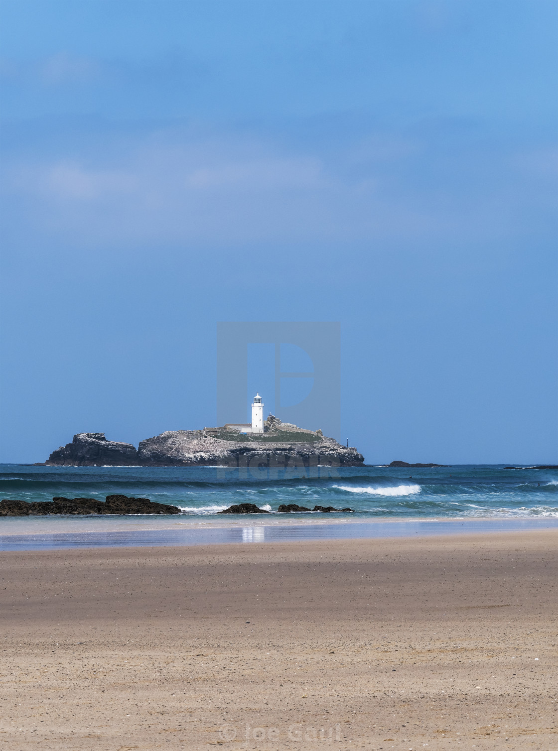 """St Ives Bay, Cornwall, UK with Godrevy lighthouse in the backgro"" stock image"