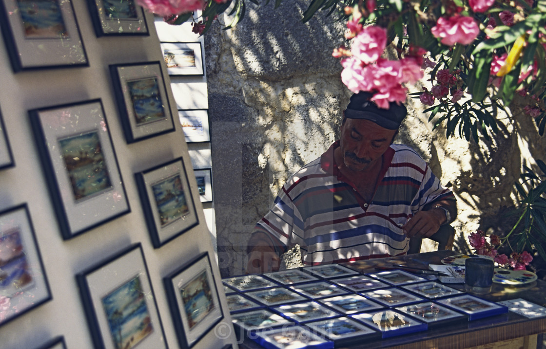 """""""An artist prepares work at Bodrum Castle"""" stock image"""
