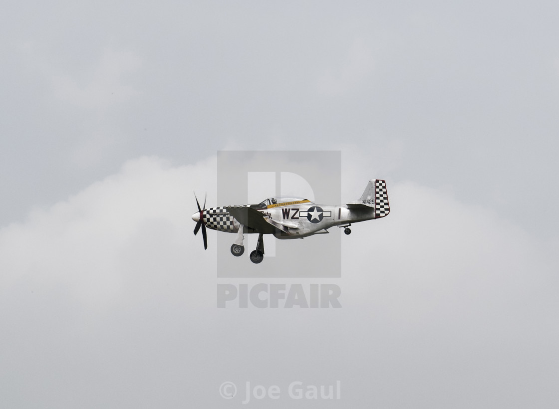 """North American P-51D Mustang at Sunderland Airshow, 26th July 20"" stock image"
