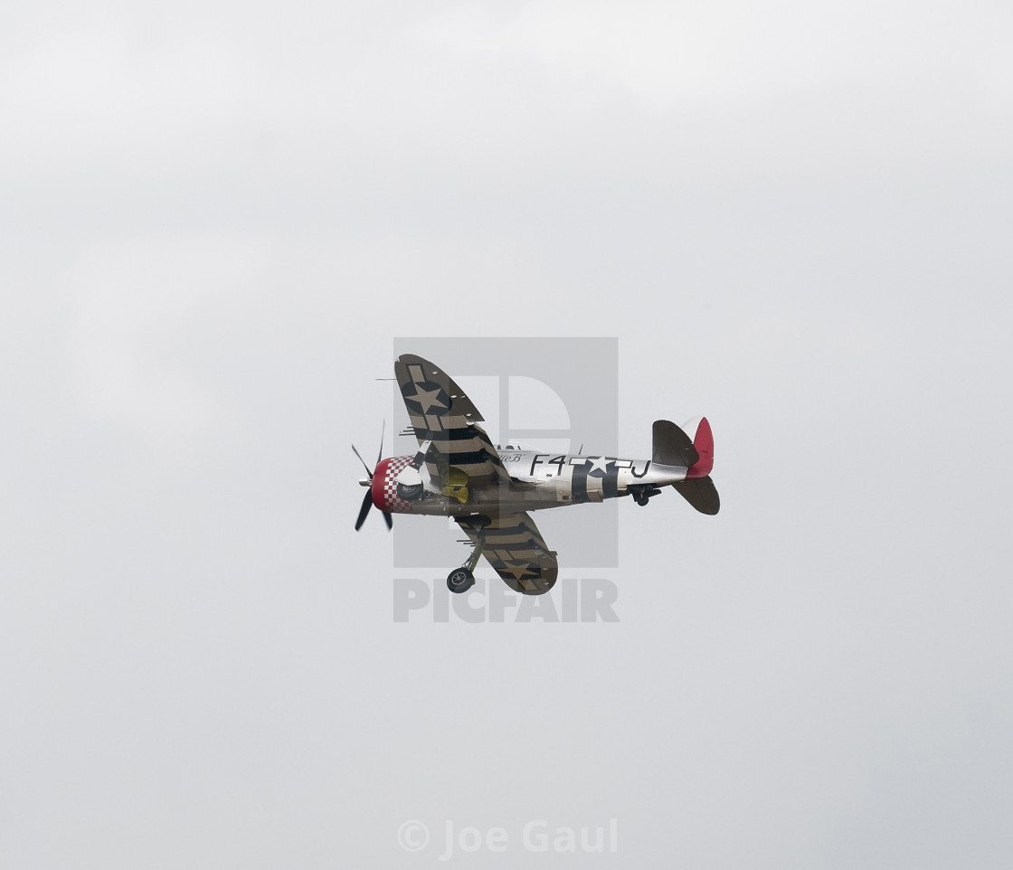 """Republic P-47 Thunderbolt at Sunderland Airshow, 26th July 2019"" stock image"
