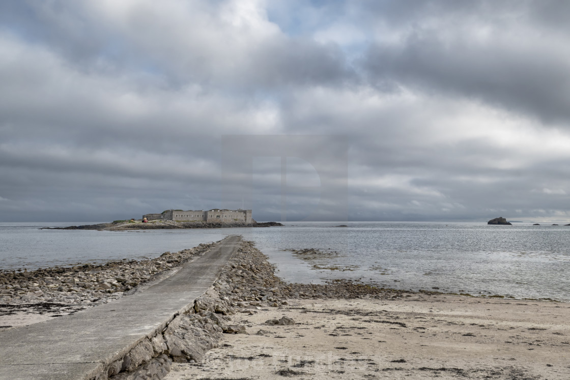 """Causeway to Fort Ile de Raz"" stock image"