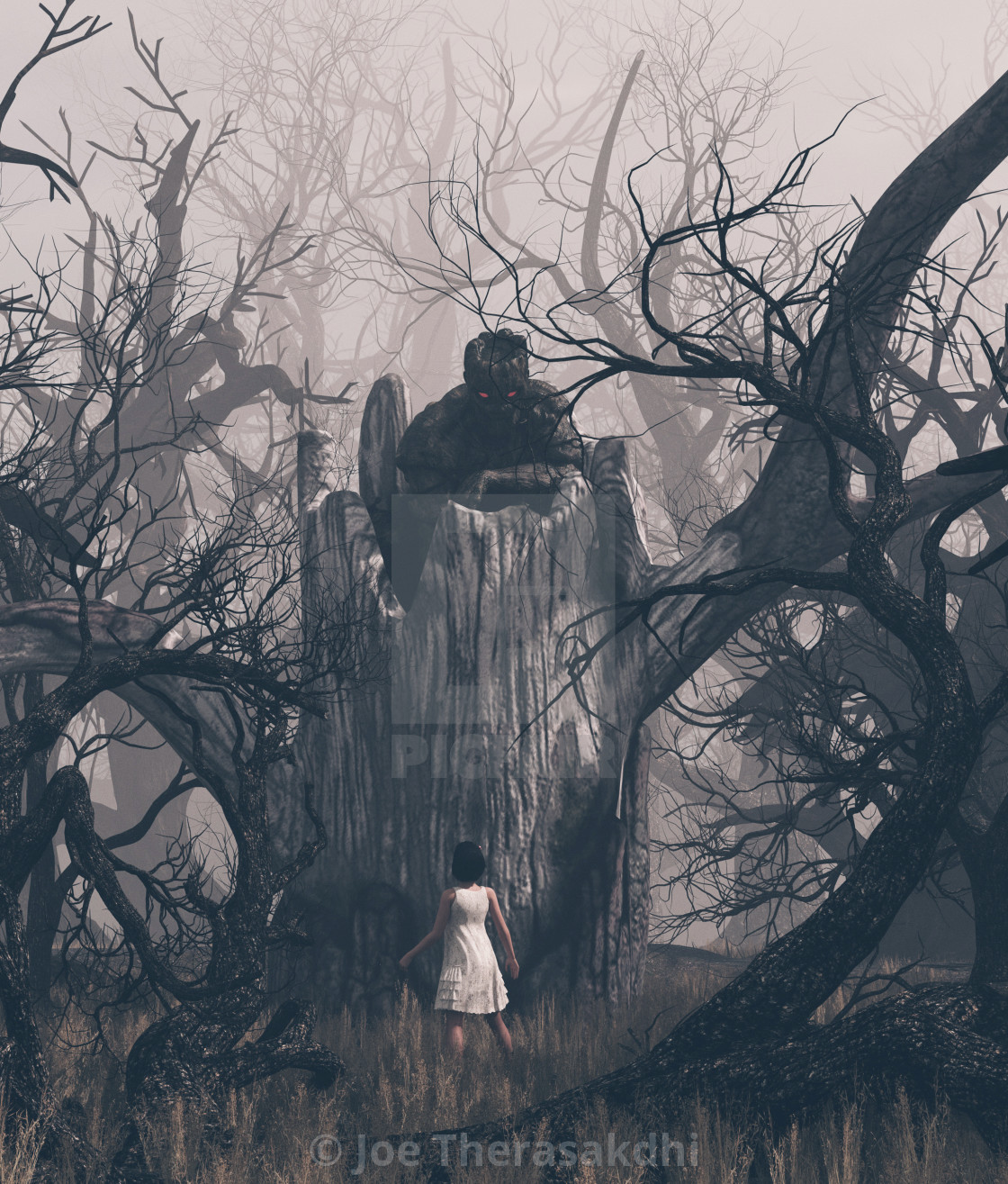 Girl staring at a ghost tree in creepy forest,3d