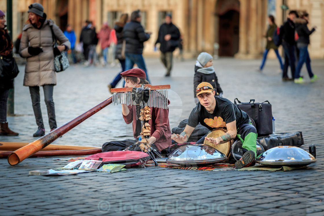 """Buskers in Prague"" stock image"