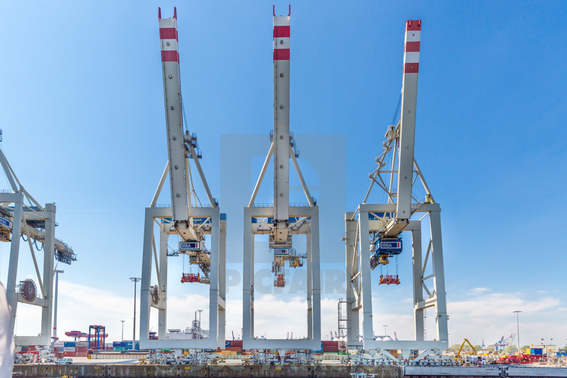 """Shipping container cranes in Hamburg"" stock image"