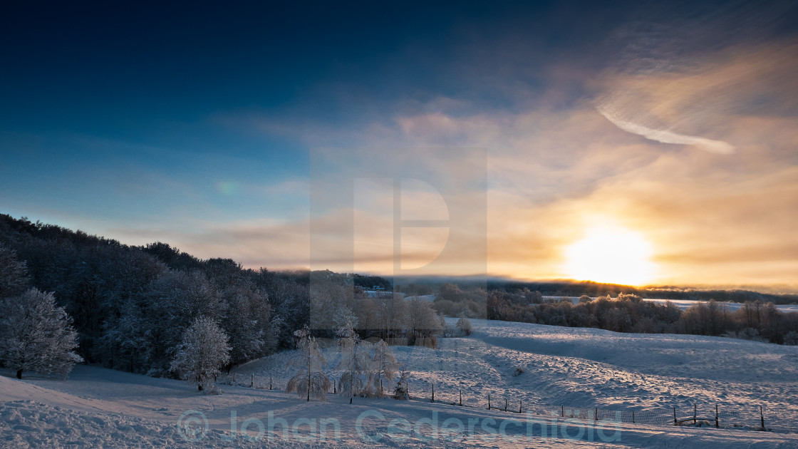 """Snowy landscape in Sweden"" stock image"
