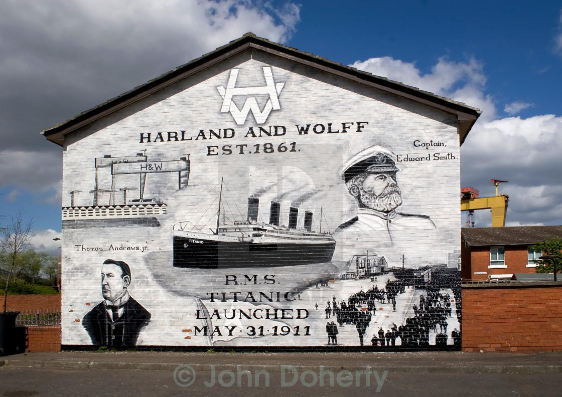 """Harland and Wolff Titanic Mural Belfast"" stock image"