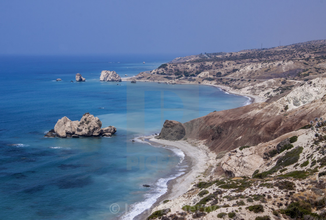 """The Rock of Aphrodite on the coast of Cyprus"" stock image"