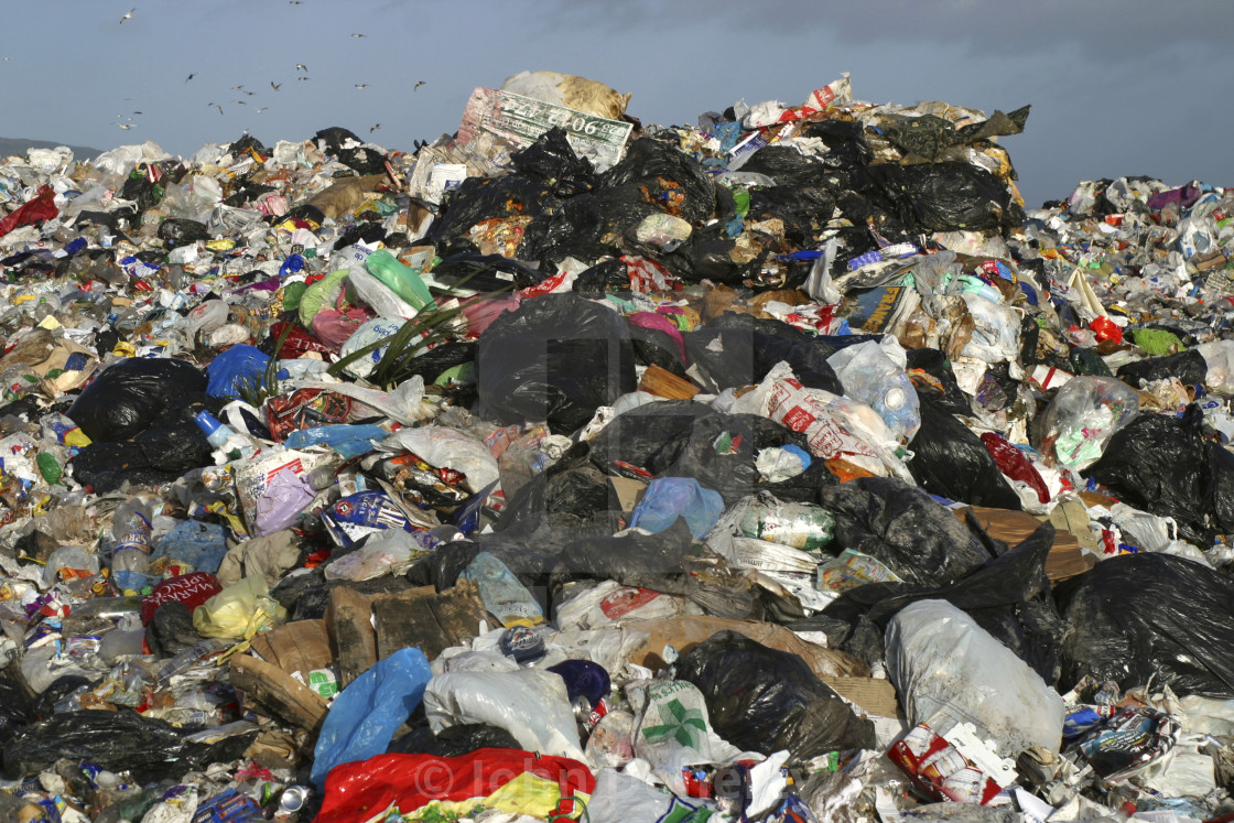 """""""Large Pile of Plastic Waste at Belfast Landfill Site"""" stock image"""